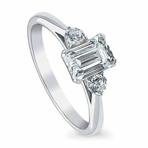BERRICLE Rhodium Plated Sterling Silver 3-Stone Anniversary Promise Engagement Ring Made with Swarovski Zirconia Emerald Cut 1.22 CTW Size 7.5