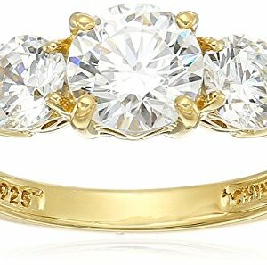 Yellow-Gold-Plated Sterling Silver Round 3-Stone Ring made with Swarovski Zirconia (2 cttw), Size 7