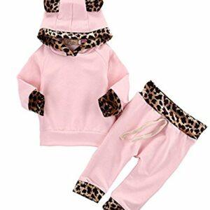 2Pcs Cute Newborn Baby Girls Pink Leopard Hoodie T-Shirt Top + Pants Outfits Set (3-6Months, Pink&Leopard)