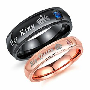 Fashion Ahead 2pcs Matching Set Couple Rings His Queen and Her King Stainless Steel Promise Rings Engagement Band (Men Size 9 & Women Size 5)
