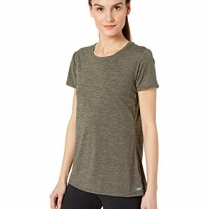 Amazon Essentials Women's 2-Pack Tech Stretch Short-Sleeve Crewneck T-Shirt, -olive space dye/black, Medium