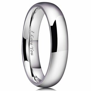 King Will 5mm Stainless Steel Ring Original Color Full High Polished with Laser Etched I Love You(5)