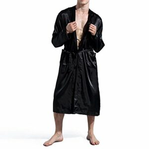 Amzchoice Men V Neck Satin Robe Kimono Long Bathrobe Lightweight Sleepwear Wedding (XXL, Black)