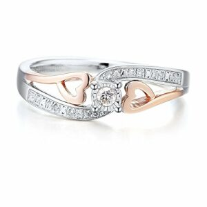 Diamond Promise Ring in 10k Rose Gold and Sterling Silver 1/10 cttw – Ring Size 7