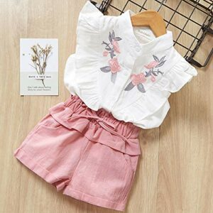 Toddler Girl Clothes Ruffle Floral Embroidery Shirt and Shorts Set 4-5 T