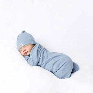 Baby Boy Girl Organic Cotton Snap Front Footed Sleeper with Mittens in Light Blue