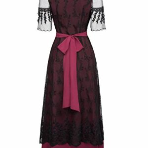 Belle Poque Women Steampunk Victorian Maxi Titanic Dress XL Wine Red