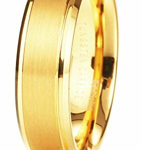 King Will Glory Womens Mens 6mm Matte Brushed Tungsten Carbide Ring 14K Yellow Gold Wedding Band Comfort Fit 10.5