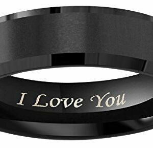 "Crownal 8mm 6mm 4mm Black Tungsten Wedding Couple Bands Rings Men Women Matte Brushed Finish Center Engraved""I Love You"" Size 4 To 17 (6mm,8.5)"