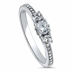 BERRICLE Rhodium Plated Sterling Silver Round Cubic Zirconia CZ 3-Stone Anniversary Promise Engagement Ring 0.57 CTW Size 7