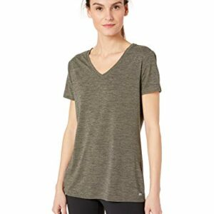 Amazon Essentials Women's 2-Pack Tech Stretch Short-Sleeve V-Neck T-Shirt, Olive Space dye/Black, Small