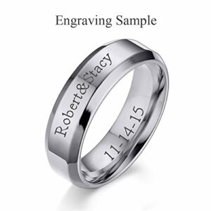 VNOX (Free Engraving) 6MM Stainless Steel Personalized Plain Band Ring for Men and Women,Silver,Size 9