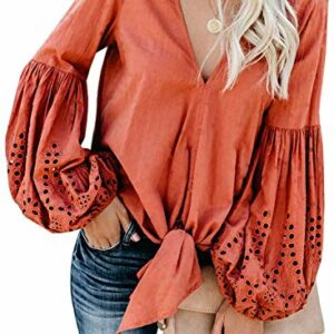 Asvivid Womens Casual V Neck Balloon Long Sleeve Tops Hollow Out Tie Knot Blouses Oversized Solid Office Ladies Shirts S Orange