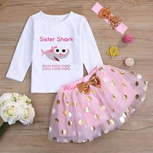 Toddler Baby Kid Girls Sister Shark Outfits Long Sleeve T-Shirt Top+Tutu Skirt with Headband Clothing Set (Pink, 3-4 Years)