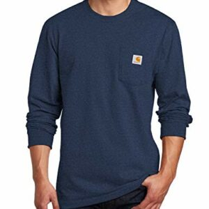 Carhartt Men's K126 Workwear Jersey Pocket Long-Sleeve Shirt (Regular and Big & Tall Sizes), Dark Cobalt Blue Heather, 2X-Large