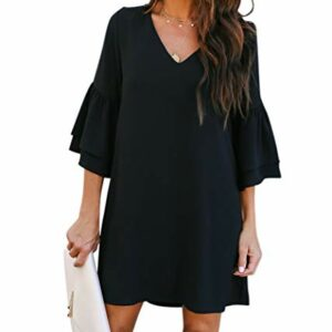 BELONGSCI Women's Dress Sweet & Cute V-Neck Bell Sleeve Shift Dress Mini Dress Black