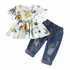 CARETOO Girls Clothes Outfits, Cute Baby Girl Floral Long Sleeve Pant Set Flower Ruffle Top (Green-2, 2-3T)