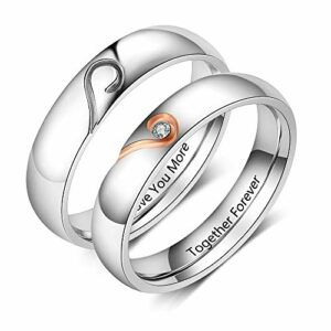 Personalized Promise Rings Set Engagement Bands Rings for Him and Her Custom Couples Rings Set for Her Mens Womens Matching Ring (Men and Women)