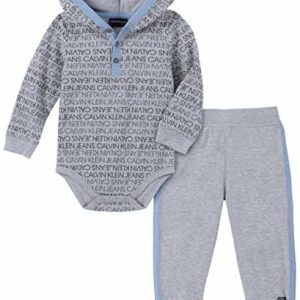 Calvin Klein Baby Boys 2 Pieces Bodysuit Pants Set, Gray Print, 3-6 Months