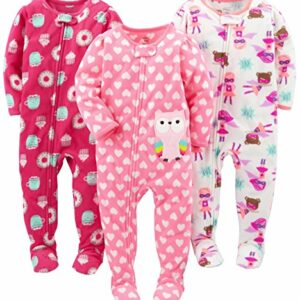 Simple Joys by Carter's Baby Girls' 3-Pack Flame Resistant Fleece Footed Pajamas, Superhero/Donut/Owl, 18 Months