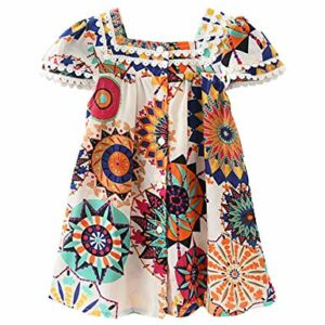 Hipea Toddler Baby Girls Clothes Bohemian Short Sleeveless Flower Princess Floral Dress Princess A-line Skirt Formal Kids Summer Outfits