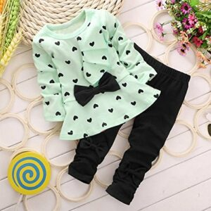 Cute Toddler Baby Girls Clothes Set Long Sleeve T-Shirt and Pants Kids 2pcs Outfits (2-3 T, Light Green)