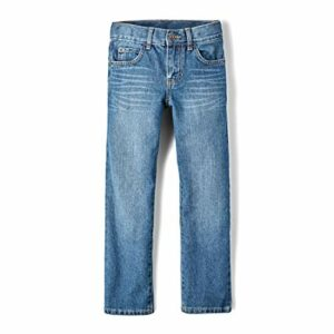 The Children's Place Big Boys' Straight Leg Jeans, Carbon,8