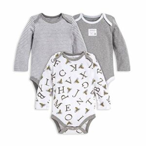 Burt's Bees Baby Unisex Baby Bodysuits, 3-Pack Long & Short-Sleeve One-Pieces, 100% Organic Cotton, A-Bee-C, 6-9 Months