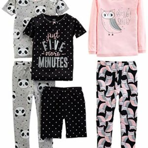 Simple Joys by Carter's Girls' Toddler 6-Piece Snug Fit Cotton Pajama Set, Owl/Panda/Dot, 5T