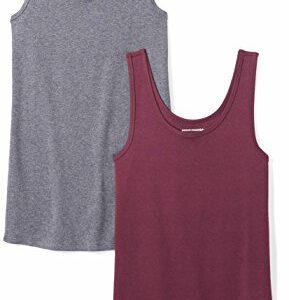 Amazon Essentials Women's 2-Pack Slim-Fit Tank, Burgundy/Charcoal Heather, Small