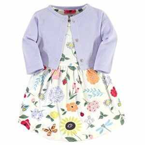 Touched by Nature Girl Organic Cotton Cardigan and Dress, Flutter Garden 2-Piece, 12-18 Months (18M)