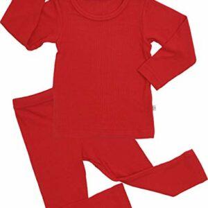 AVAUMA Baby Boy Girl Long Sleeve Ribbed Pajamas Set Snug-Fit Fall Winter Pjs Sleepwear Kids Toddler (S/Red)
