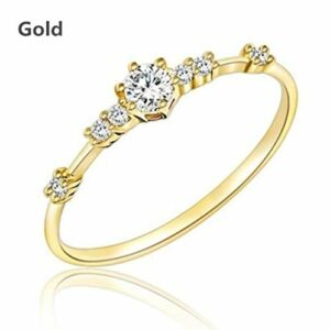 JESMING 7 Tiny Diamond Pieces of Exquisite Small Fresh Style Ladies Engagement Ring Jewelry (Rose Gold,10)