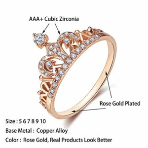 Presentski Women's Crown Tiara Rings Exquisite 18K Rose Gold Plated Princess Tiny CZ Diamond Accented Promise Rings (Rose Gold, 6)