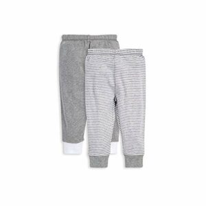 Burt's Bees Baby Baby Pants, Set of 2 Lightweight Knit Infant Bottoms, 100% Organic Cotton, Grey Solid/Stripes, 12 Months