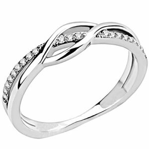 Jude Jewelers Stainless Steel Waved Knot Engagement Wedding Promise Anniversary Statement Ring (Silver Clear, 4)