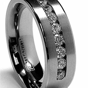 8 MM Men's Titanium Ring Wedding Band with 9 Large Channel Set Cubic Zirconia CZ Size 9.5