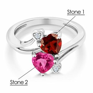 Gem Stone King 925 Sterling Silver Promise Customized Personalized and Engraving Build Your Own 2 Birthstone For Her Heart Shape Women Engagement Ring (Size 5)