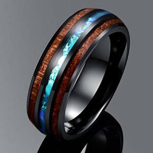 VAKKI Unisex Koa Wood and Imitated Opal Inlay Promise Rings 8mm Domed Wedding Bands Size 13