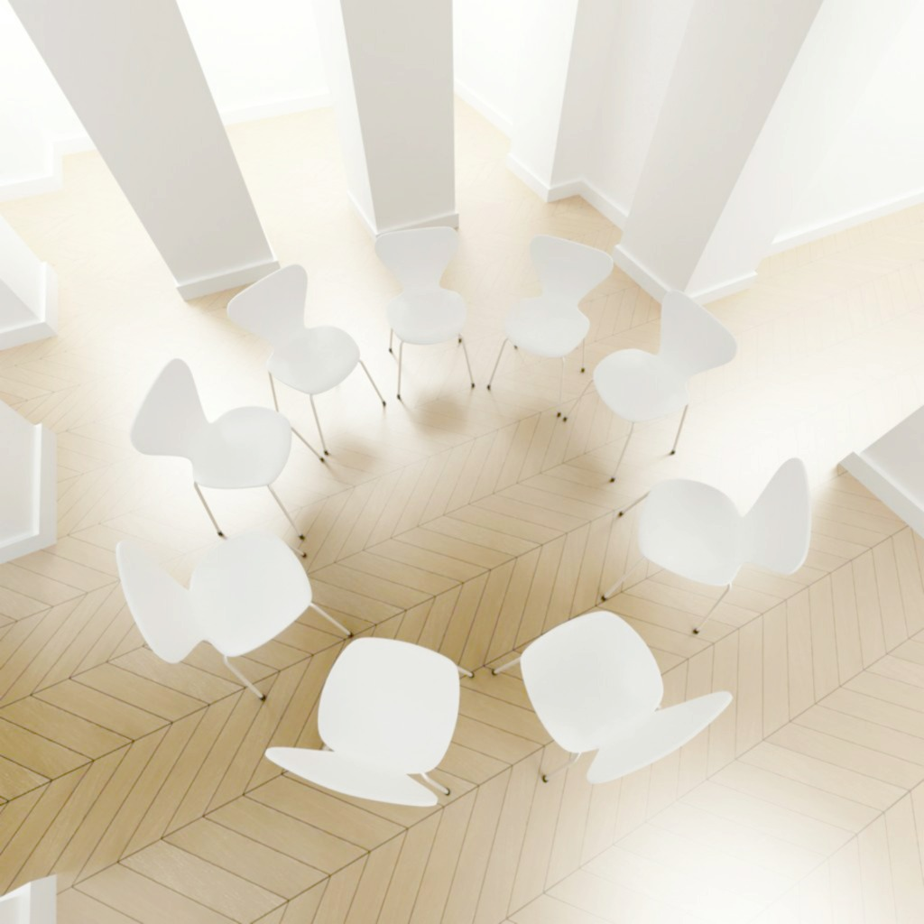 white chairs in circle arial view,intervention services, whole families intervention services, alcohol intervention, drug addiction interventions, recovery coaching
