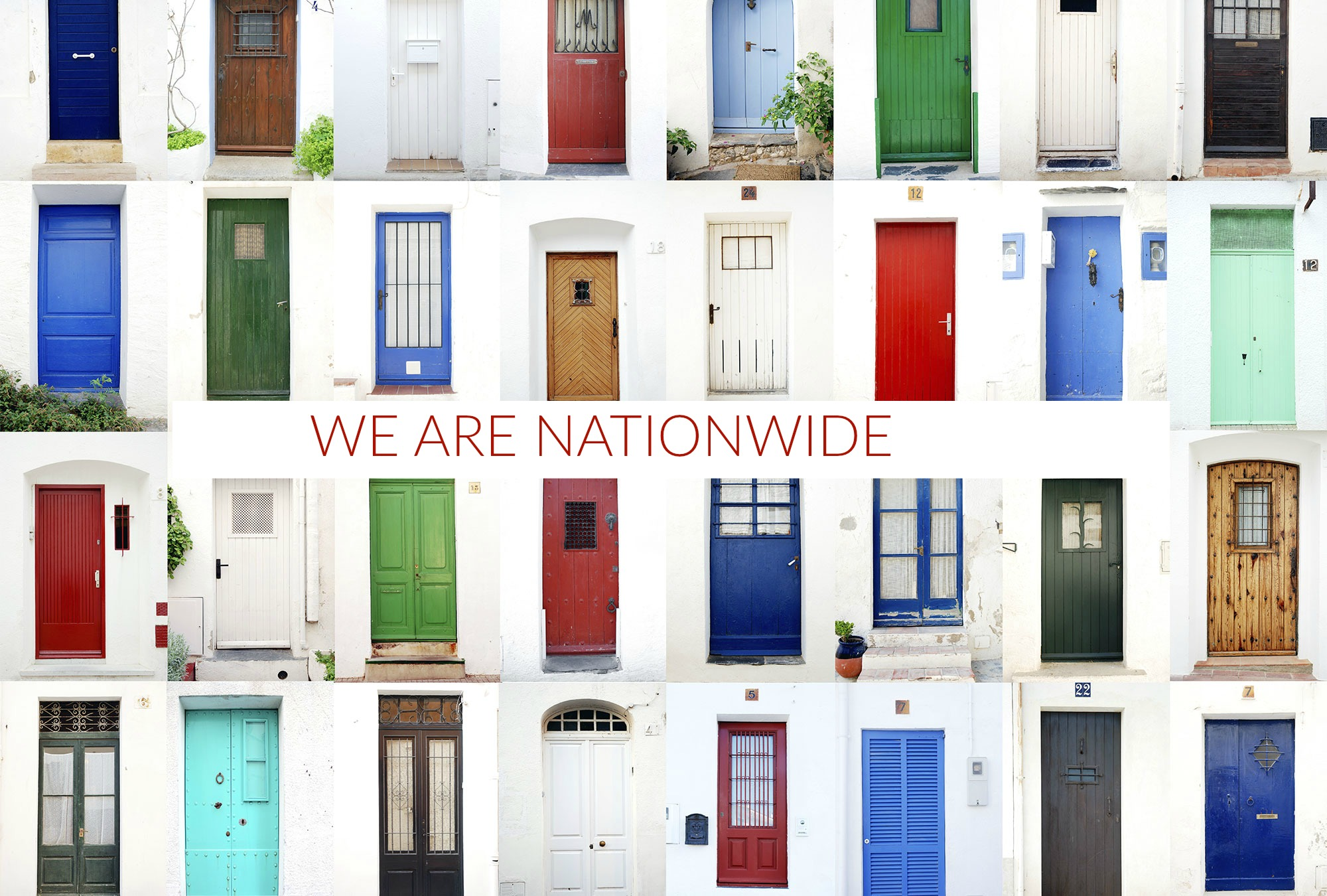 colorful doors on top of each other, interventions nationwide