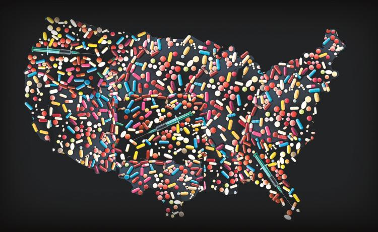 pills that make a puzzle of the united states representing opiod crisis