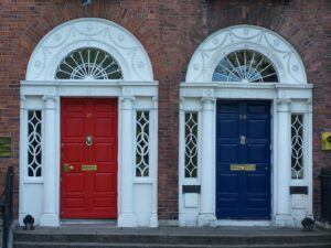 blue and red doors side by side intervention services for families