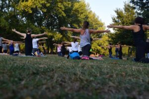 women-performing-yoga-on-green-grass-near-tree-exercise-addiction-recovery
