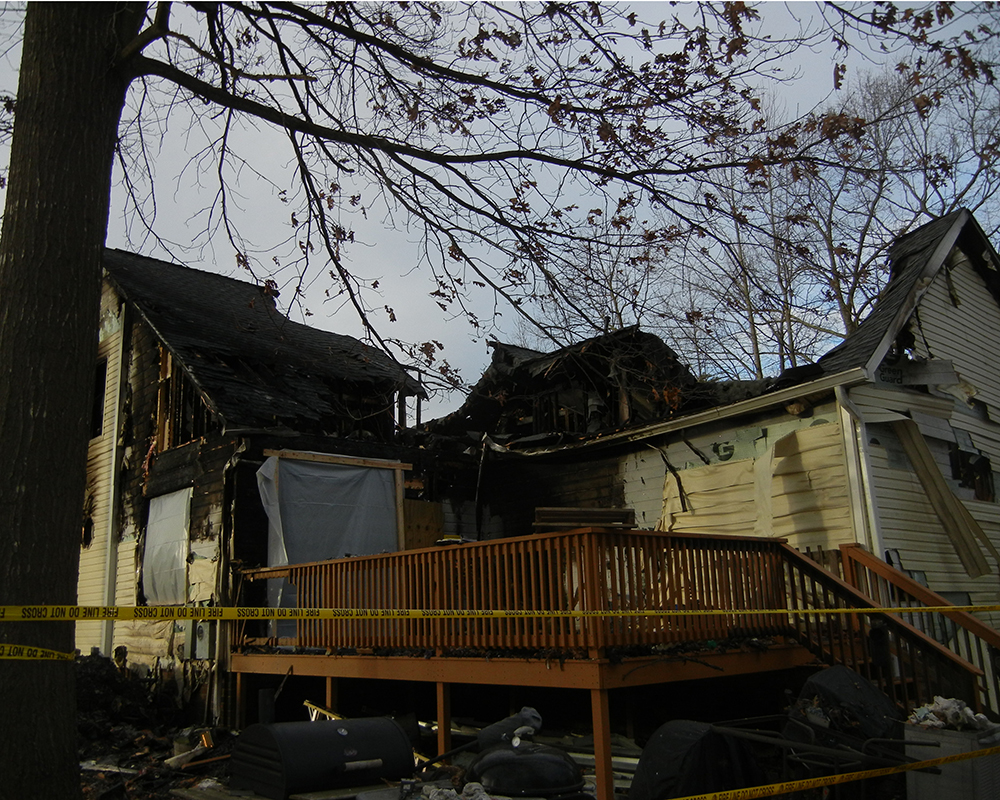 Massisive fire damaged home