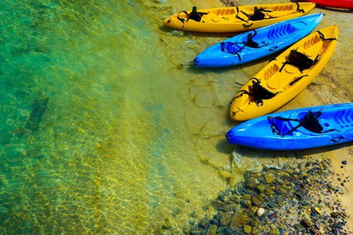 kayaks standing fishing