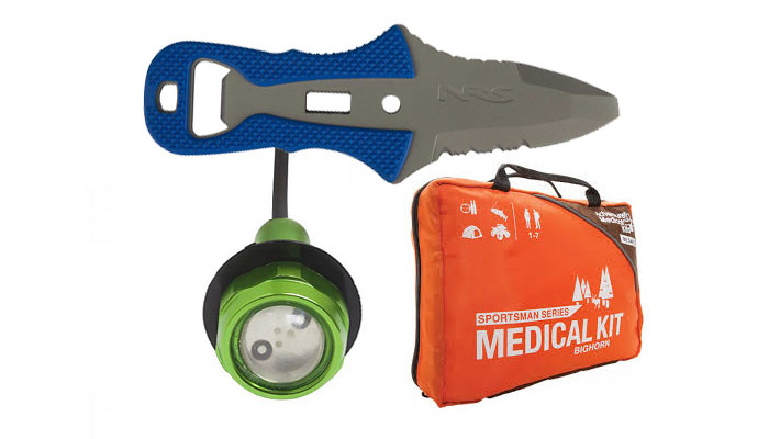 safety in kayak fishing lights knife first aid