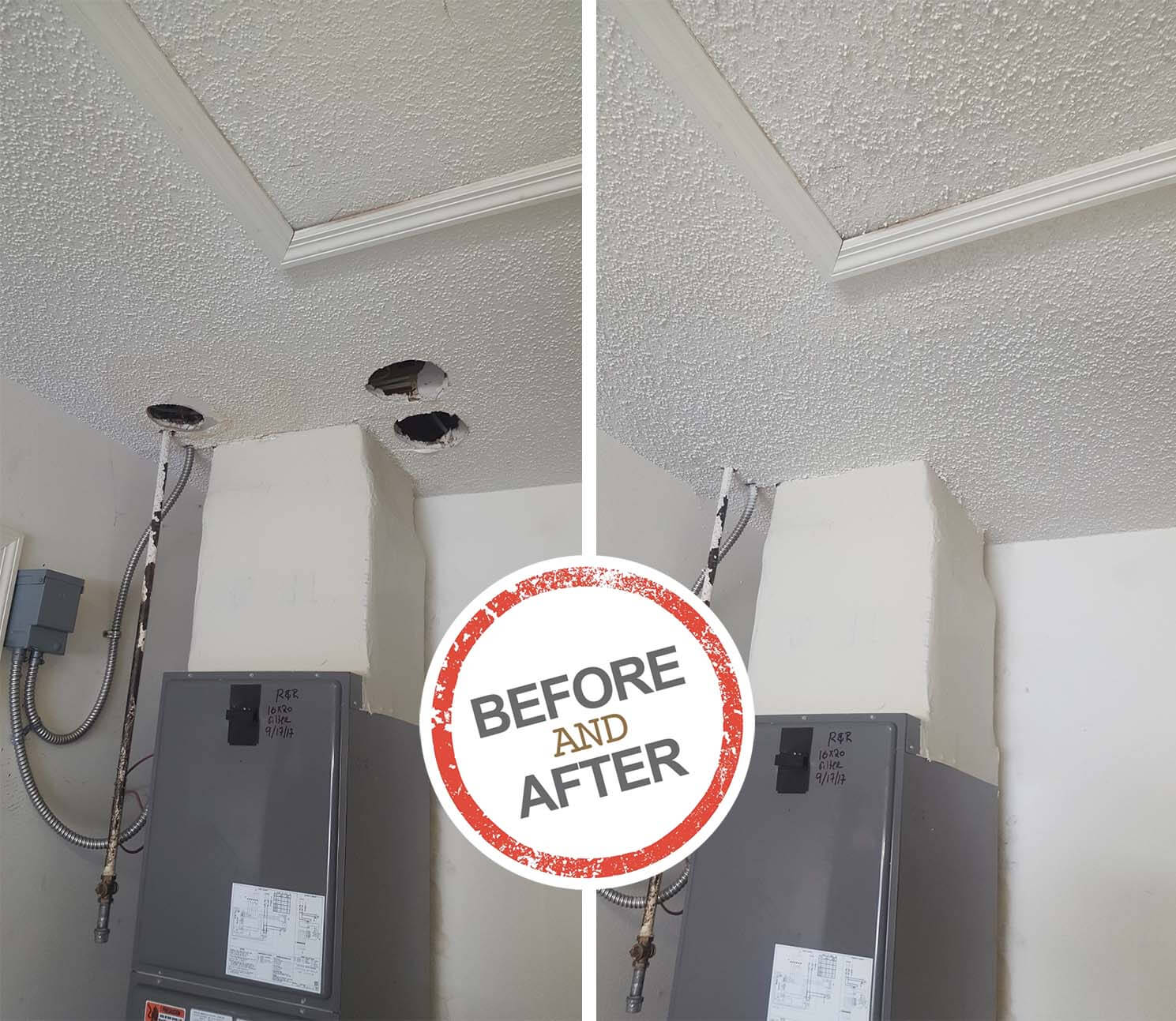 Foot Holes in Ceiling Drywall from Step-Through Damage