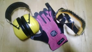 safety gear is important, including earmuffs gloves and goggles