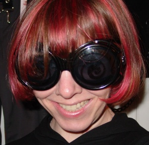 me with pink hair and goggles in 2006